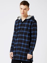 Topman Blue Check Hooded Longline Casual Shirt