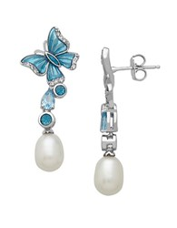 Lord And Taylor Sterling Silver Blue White Topaz Freshwater Pearl Drop Earrings Pearl Blue Silver