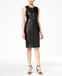 Calvin Klein Faux Leather Zip Front Sheath Dress Black