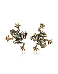 Alcozer And J Earrings Frog Earrings W Crystals