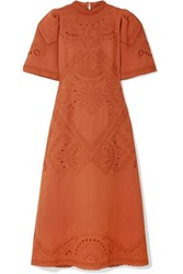Sea Agatha Broderie Anglaise Linen And Cotton Blend Midi Dress Orange