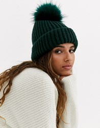 Topshop Beanie Hat With Faux Fur Pom Pom In Green Pink