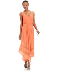 Ny Collection Petite Lace Trim Asymmetrical Hem Maxi Dress Living Coral
