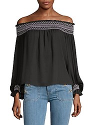 Laundry By Shelli Segal Smocked Off The Shoulder Blouse Black