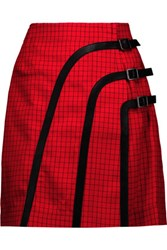 J.W.Anderson Leather Trimmed Checked Wool And Mohair Blend Wrap Mini Skirt Red