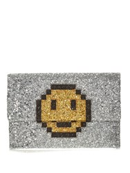 Anya Hindmarch Valorie Pixel Smiley Glitter Clutch Silver