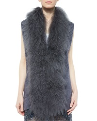 Haute Hippie Vest With Mongolian Lamb Fur Collar Mid Gray