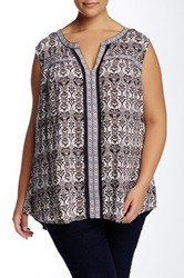 Daniel Rainn Printed Ribbon Tank Plus Size Multi