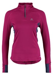 Salomon Trail Runner Warm Long Sleeved Top Mystic Purple Abyss Blue Berry