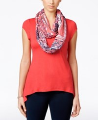 Amy Byer Bcx Juniors' Short Sleeve High Low Scarf Top Coral