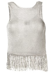 Forte Forte Fringed Knit Tank Top Neutrals