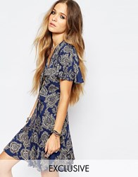 Reclaimed Vintage Button Front Mini Tea Dress With Ruffle Detail In Paisley Print Blue