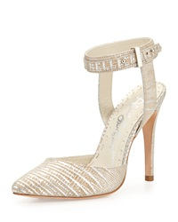 Alice Olivia Dayla Lizard Embossed Nubuck Suede Ankle Wrap Pump Natural Silver