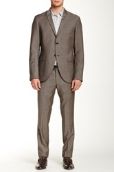 Tiger Of Sweden Gray Two Button Peak Lapel Wool Suit Beige