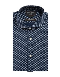 Black Brown Paisley Printed Dress Shirt Navy