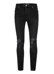 Topman Washed Black Ripped Stretch Skinny Fit Jeans