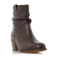 Linea Payslie Rucked Ankle Boots Brown