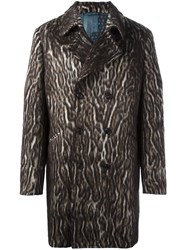 Etro Leopard Print Double Breasted Coat Brown