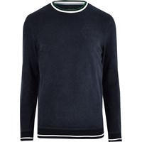 River Island Mensnavy Towelling Tipped Crew Neck Sweatshirt