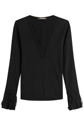 Roberto Cavalli Wool Pullover With Tulle Black