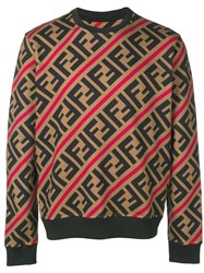 Fendi Printed Ff Logo Sweatshirt Brown