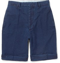 Officine Generale Wide Leg Cotton Seersucker Shorts Blue