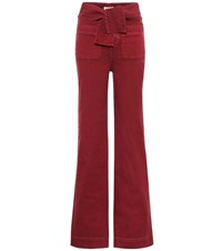 Ulla Johnson Wade High Rise Wide Leg Jeans Red