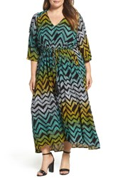 Melissa Mccarthy Seven7 Plus Size Women's Print Cold Shoulder Maxi Dress African Chevron