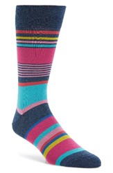 Bugatchi Men's Stripe Socks Denim Pink