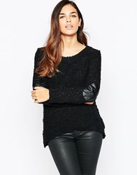 Ax Paris Patch Sleeve Jumper Black