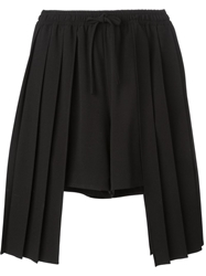 Off White Asymmetrical Pleat Shorts Black