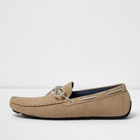 River Island Mens Beige Grip Sole Lace Up Loafers