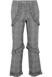 Simone Rocha Ruffled Prince Of Wales Checked Cotton Blend Straight Leg Pants Gray
