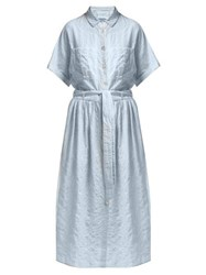 Loup Charmant Exclusive Striped Cotton Blend Shirt Dress Blue Stripe