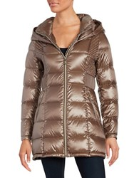 Ivanka Trump Packable Hooded Puffer Coat Shine Taupe