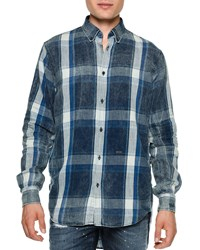 Dsquared2 Chambray Plaid Button Down Shirt Blue Size 56