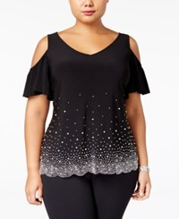 Msk Plus Size Embellished Cold Shoulder Top Black
