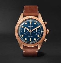 Oris Carl Brashear Chronograph 43Mm Burnished Bronze And Leather Watch Blue