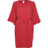River Island Womens Red Puff Sleeve Swing Dress