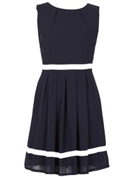 Izabel London Sleeveless Ribbon Trim Dress Navy