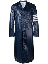 Thom Browne 4 Bar Ripstop Chesterfield Overcoat Blue
