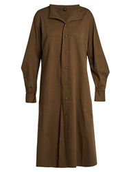 Yohji Yamamoto Distressed Dot Cotton Drill Shirtdress Khaki