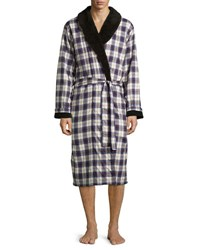 Ugg Kalib Plaid Twill Fleece Lined Robe Navy