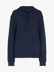 Calvin Klein 205W39nyc Logo Embroidered Hoodie Blue