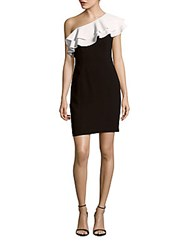 Aidan Mattox Colorblock Sheath Dress Black White