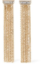 Lanvin Gold Tone Crystal Clip Earrings One Size