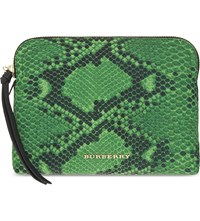 Burberry Snake Print Nylon Pouch Bright Green