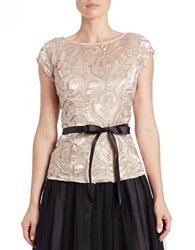 Marina Sequin Mesh Overlay Top Champagne