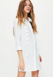 Missguided White Lace Up Front Shirt Dress