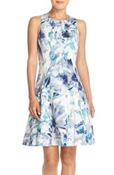 Women's Maggy London Floral Print Stretch Cotton Fit And Flare Dress Blue Grey